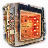 Vertical fire resistance test furnace