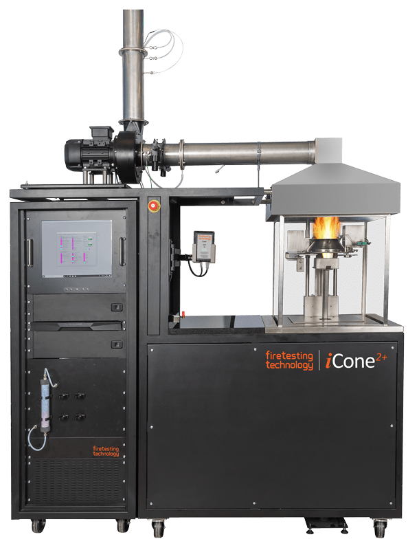 Cone calorimeter for reaction to fire testing