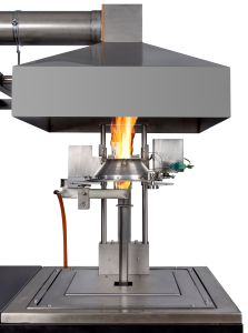 Cone Calorimeter measuring the reaction of fire to a piece of material
