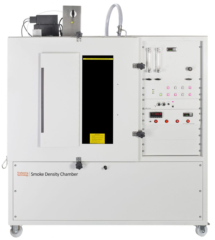 Smoke density chamber for the determination of smoke generated by solid materials.